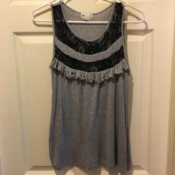 Urban Outfitters Tops - Urban Outfitters Tikirani Gray Tank w/ Black Lace